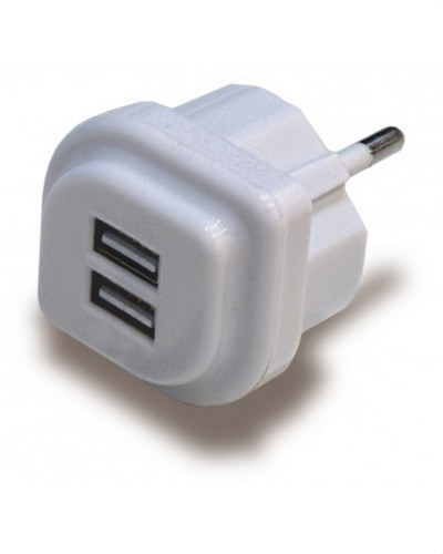 ALIMENTADOR USB DOBLE 5V/1A-2A BLANCO