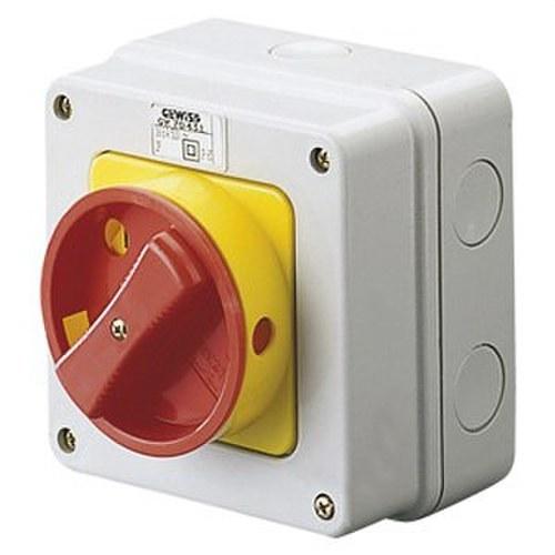 Interruptor rotativo estrella 4P 32A con maneta roja