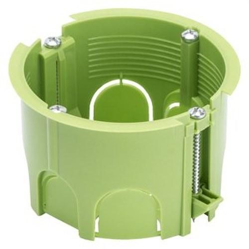Caja redonda pared ligera 2 módulos verde