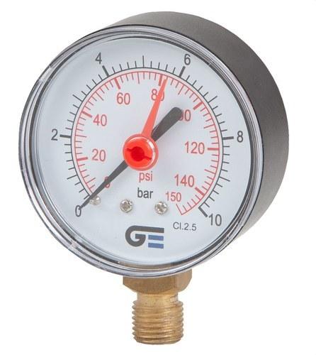 Manómetro radial 0-10 diámetro 63 indicador rojo