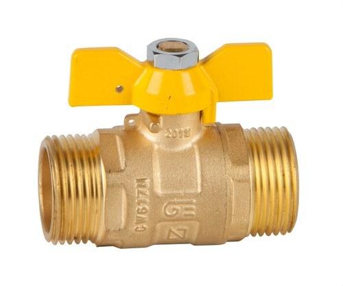 Válvula recta para gas M-M 3/4 mando palomilla latón