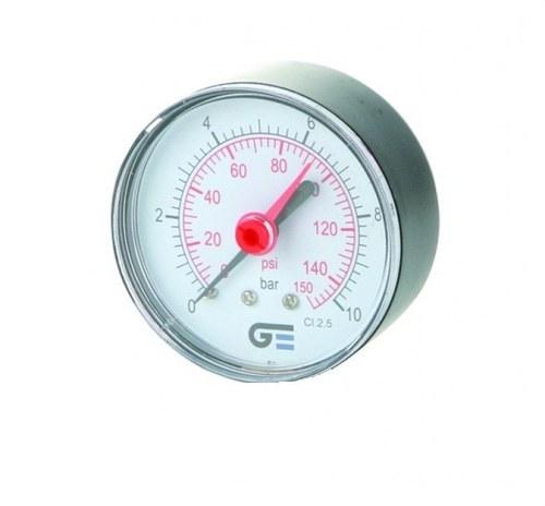 Manómetro salida posterior diámetro 53 indicador rojo 0-10bar