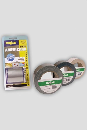 Cinta americana gris plata 25mx50mm