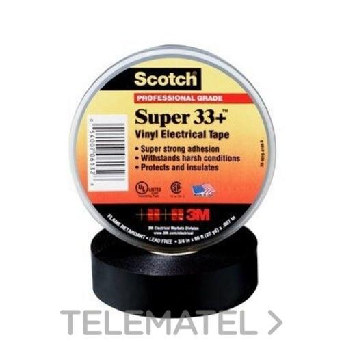 Cinta Scotch super 33+20x19 PVC negro con referencia 332019 de la marca 3M ELECTRICOS.