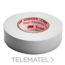 Cinta Temflex 1500 19mmx20m pvc blanco 0,15m con referencia 7000062299 de la marca 3M ELECTRICOS.