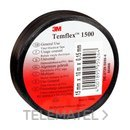 Cinta Temflex 1500 19mmx20m pvc negro 0,15m con referencia 7000062291 de la marca 3M ELECTRICOS.