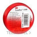 Cinta Temflex 1500 19mmx20m pvc rojo rollo con referencia 7000062298 de la marca 3M ELECTRICOS.