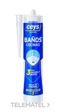 Silicona SELLACEYS cocina y baños 280ml blanco (cartucho) con referencia 505530 de la marca CEYS.