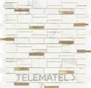Mosaico EMPHASIS ARCADIA, mezcla de materiales blanco / oro satinado de 29,8x30cm con referencia 187541 de la marca DUNE.
