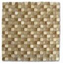 Mosaico EMPHASIS ONIX-GLASS, mezcla de materiales beige satinado de 29,3x29,3cm con referencia 185023 de la marca DUNE.