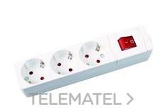 Base múltiple 3 salidas sin cable conInterruptor blanco con referencia 282 B de la marca FENOPLASTICA.