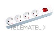 Base múltiple 4 salidas sin cable conInterruptor blanco con referencia 285 B de la marca FENOPLASTICA.