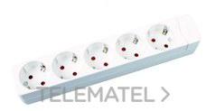 Base múltiple 5 salidas sin cable blanco con referencia 286 B de la marca FENOPLASTICA.