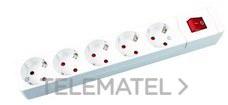 Base múltiple 5 salidas sin cable conInterruptor blanco con referencia 287 B de la marca FENOPLASTICA.