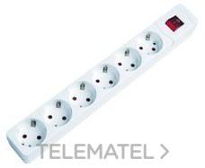 Base múltiple 6 salidas sin cable conInterruptor blanco con referencia 289 B de la marca FENOPLASTICA.