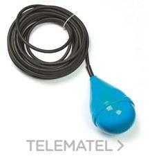 FINDER 72B100000500 Regulador de nivel por flotador con tres cámaras SERIE 72, 1 contacto conmutado, cable 5m,