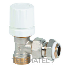 """Válvula termostatizable escuadra rácor cobre / polietileno 1/2"""" con referencia 70048 04 00 de la marca GENEBRE."""