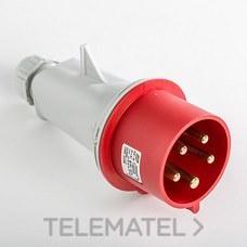 Clavija aérea IP44 3 polos + neutro + toma tierra 380V 32A 6h de color rojo con referencia 03106 de la marca IDE.