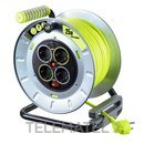 Enrollacable abierto M ProXT metálico M 4 tomas Schuko 25m con referencia OTME25164SL-PX de la marca LUCECO.