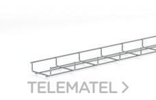 Bandeja de rejilla Rejiband altura 35 mm y ancho 100 mm con borde de seguridad, en acero, acabado electrocincado EZ con referencia 60211100 de la marca PEMSA.