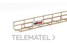 Bandeja de rejilla Rejiband altura 60 mm y ancho 100 mm con borde de seguridad, en acero, acabado bicromatado BYCRO con referencia 60222100 de la marca PEMSA.