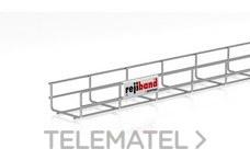 Bandeja de rejilla Rejiband altura 60 mm y ancho 100 mm con borde de seguridad, en acero, acabado galvanizado caliente GC con referencia 60232100 de la marca PEMSA.