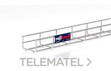 Bandeja de rejilla Rejiband altura 60 mm y ancho 100 mm con borde de seguridad, en acero inoxidable AISI 304 con referencia 60252100 de la marca PEMSA.