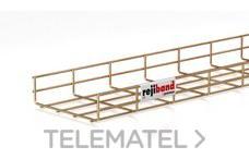 Bandeja de rejilla Rejiband altura 60 mm y ancho 200 mm con borde de seguridad, en acero, acabado bicromatado BYCRO con referencia 60222200 de la marca PEMSA.