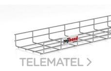 Bandeja de rejilla Rejiband altura 60 mm y ancho 200 mm con borde de seguridad, en acero, acabado galvanizado caliente GC con referencia 60232200 de la marca PEMSA.