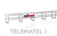 Bandeja de rejilla Rejiband altura 60 mm y ancho 60 mm con borde de seguridad, en acero, acabado galvanizado caliente GC con referencia 60232060 de la marca PEMSA.