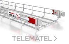 Bandeja de rejilla Rejiband CLICK, altura 100 mm y ancho 400 mm con sistema Click de unión rápida, en acero, acabado electrocincado EZ con referencia 60513400 de la marca PEMSA.