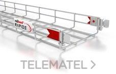 Bandeja de rejilla Rejiband CLICK, altura 60 mm y ancho 100 mm con sistema Click de unión rápida, en acero, acabado electrocincado EZ con referencia 60512100 de la marca PEMSA.
