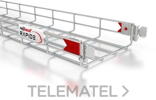 Bandeja de rejilla Rejiband CLICK, altura 60 mm y ancho 200 mm con sistema Click de unión rápida, en acero, acabado electrocincado EZ con referencia 60512200 de la marca PEMSA.