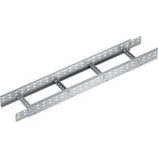 Bandeja metálica Megaband® tipo escalera con travesaños de 100x1000mm con borde de seguridad y alta capacidad de carga, fabricada en acero, acabado en galvanizado caliente GC. Longitud 6m. con referencia 92134990 de la marca PEMSA.