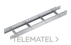 Bandeja metálica Megaband® tipo escalera con travesaños soldados de 100x400 mm con borde de seguridad y alta capacidad de carga, fabricada en acero, acabado galvanizado caliente GC. Longitud 3 m. con referencia 92034400 de la marca PEMSA.