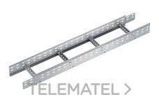 Bandeja metálica Megaband® tipo escalera con travesaños soldados de 120x300 mm con borde de seguridad y alta capacidad de carga, fabricada en acero, acabado galvanizado caliente GC. Longitud 3 m. con referencia 92035300 de la marca PEMSA.