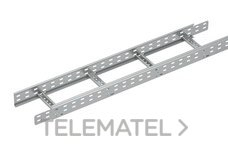 Bandeja metálica Megaband® tipo escalera con travesaños soldados de 60x300 mm con borde de seguridad y alta capacidad de carga, fabricada en acero, acabado galvanizado caliente GC. Longitud 3 m. con referencia 92032300 de la marca PEMSA.