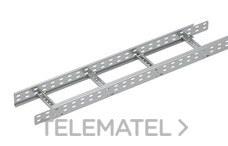 Bandeja metálica Megaband® tipo escalera con travesaños soldados de 60x450 mm con borde de seguridad y alta capacidad de carga, fabricada en acero, acabado galvanizado caliente GC. Longitud 3 m. con referencia 92032450 de la marca PEMSA.