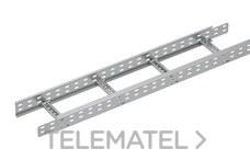Bandeja metálica Megaband® tipo escalera con travesaños soldados de 85x400 mm con borde de seguridad y alta capacidad de carga, fabricada en acero, acabado galvanizado caliente GC. Longitud 3 m. con referencia 92033400 de la marca PEMSA.