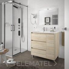 Conjunto mueble con lavabo y espejo ARENYS 855mm roble caledonia con referencia 25338 de la marca SALGAR.