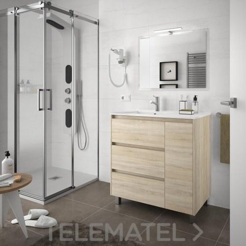 Conjunto mueble con lavabo y espejo arenys 855mm roble for Que es un canape mueble