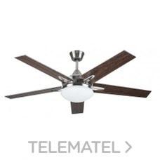 Ventilador de techo 2xE27 40W máximo acabado níquel+nogal/gris con referencia 75655 de la marca SULION.