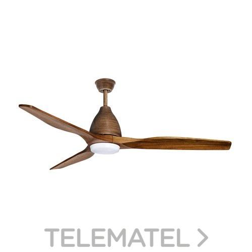 Ventilador de techo SMD 18W 3.000K 1400-1900lm acabado marrón brocheado+nogal con referencia 75300 de la marca SULION.