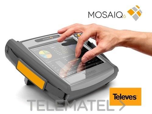 Medidor de campo portátil MOSAIQ6 de alto rendimiento y precisión con medidas de canal de retorno, DVB-T/T2, DBV-S/S2, DVB-C, FM, GPS, WiFi, fibra óptica, IPTV y con Common interface para servicios encriptado con referencia 596101 de la marca TELEVES.