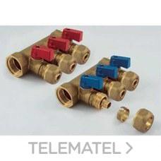 Colector 1842 3/4 2 salidas 16x2,2 con mariposa roja NINO para tubo PE-X con referencia 1820057 de la marca TIEMME.