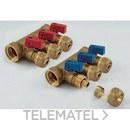 Colector 1842 3/4 3 salidas 16x2,2 con mariposa roja NINO para tubo PE-X con referencia 1820059 de la marca TIEMME.