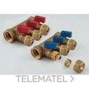 Colector 1842 3/4 3 salidas6x2,0 con mariposa azul NINO para tubo PE-X con referencia 1820052 de la marca TIEMME.
