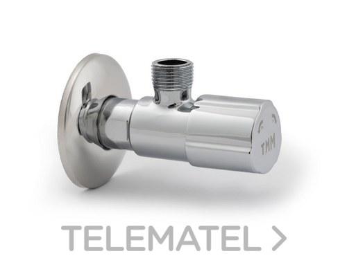 """Válvula escuadra antical C-850 1/2x3/8"""" con mando metálico con referencia 0400001 de la marca TMM."""